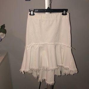 J.O.A. White Denim Midi Skirt